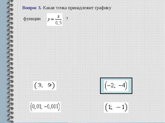 Вопрос 3.Какая точка принадлежит графику функции ? ...