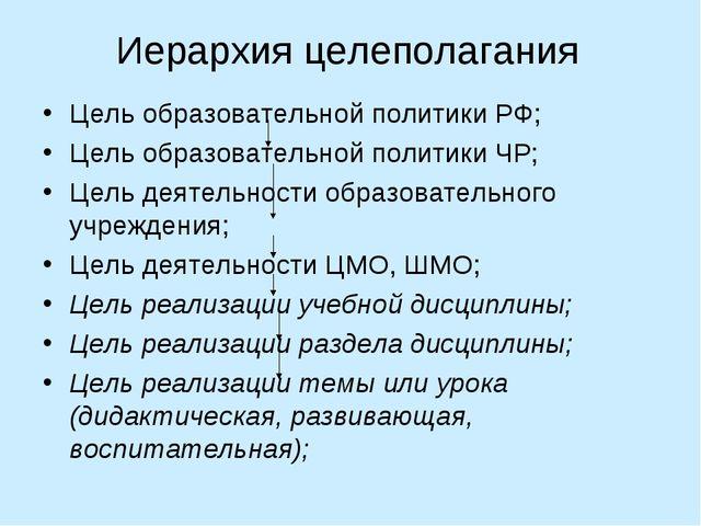 Иерархия целеполагания Цель образовательной политики РФ; Цель образовательной...