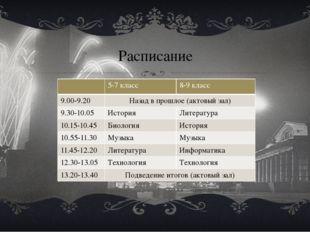 Расписание 5-7класс 8-9класс 9.00-9.20 Назадв прошлое (актовый зал) 9.30-10.0