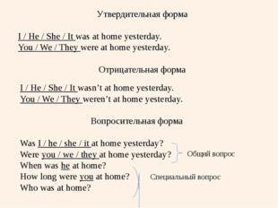 Утвердительная форма I / He / She / It was at home yesterday. You / We / They