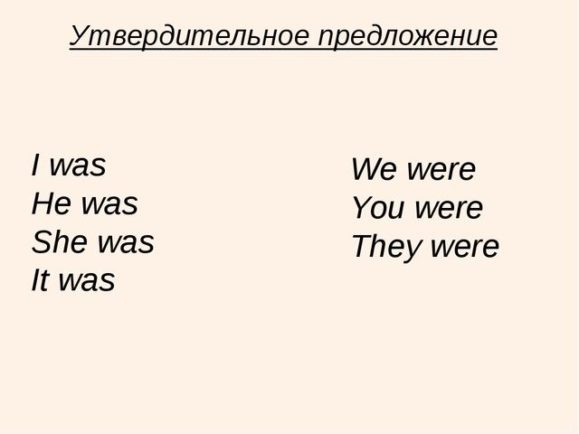 Утвердительное предложение I was He was She was It was We were You were They...