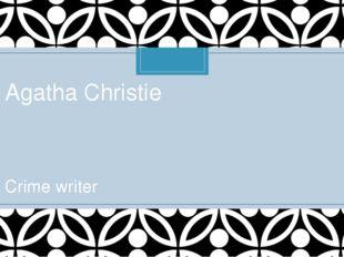 Agatha Christie Crime writer C