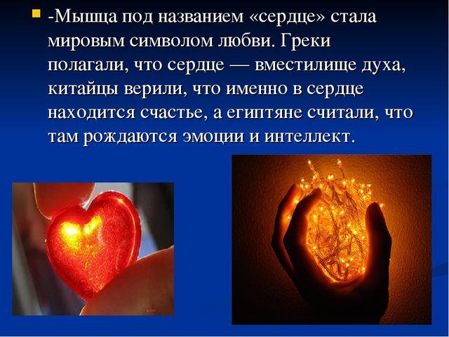 -Мышца под названием «сердце» стала мировым символом любви. Греки полагали, ч...