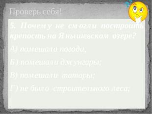Проверь себя! 5. Почему не смогли построить крепость на Янышевском озере? А)