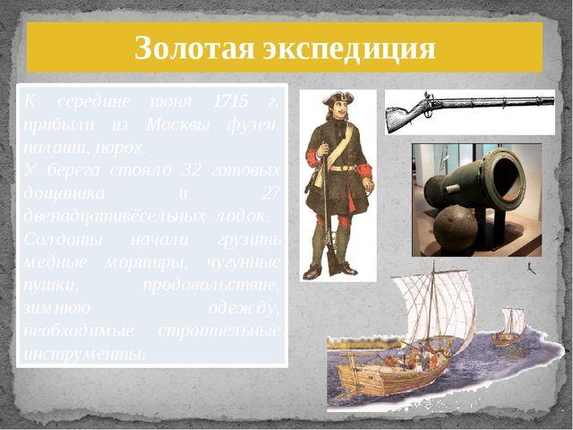 К середине июня 1715 г. прибыли из Москвы фузеи, палаши, порох. У берега стоя...