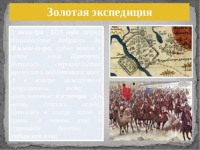 Золотая экспедиция 1 октября 1715 года отряд благополучно добрался до Ямыш-оз...