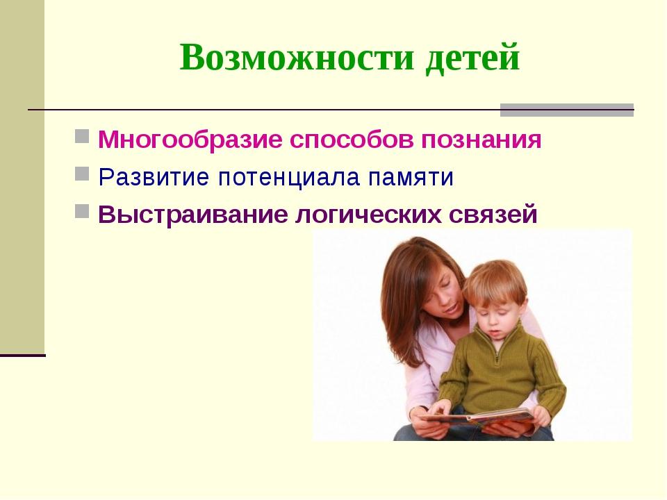 Возможности детей Многообразие способов познания Развитие потенциала памяти В...