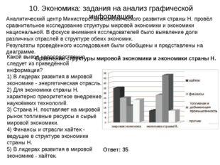 10. Экономика: задания на анализ графической информации Ответ: 35 Аналитическ