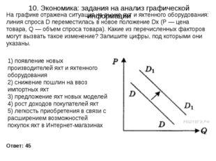 10. Экономика: задания на анализ графической информации Ответ: 45 На графике