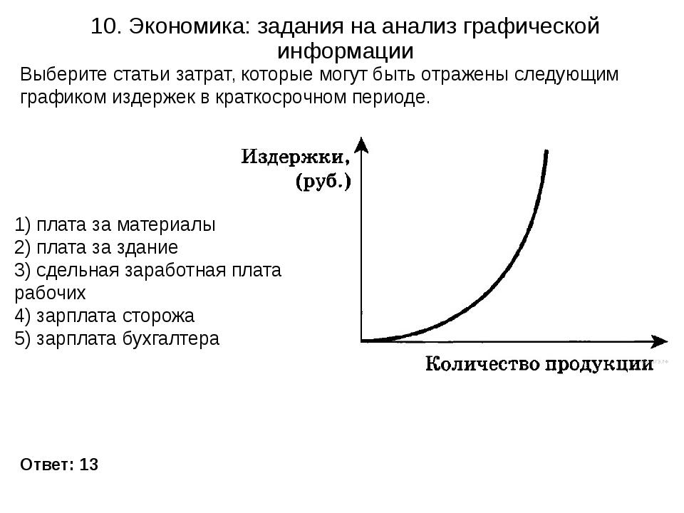 10. Экономика: задания на анализ графической информации Ответ: 13 Выберите ст...