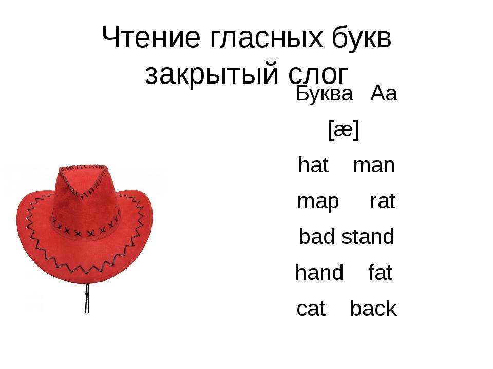 Чтение гласных букв закрытый слог Буква Aa [æ] hat man map rat bad stand hand...