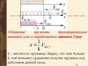 Удлинение пружины пропорционально внешней силе и определяется законом Гука: k