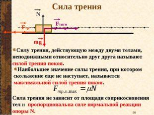 Сила трения mg Fтяги Fтр N Fтяги Fтр Cилу трения, действующую между двумя тел