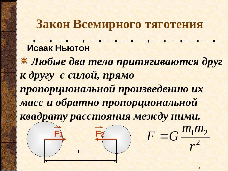 Закон Всемирного тяготения Любые два тела притягиваются друг к другу с силой,...