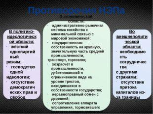 Противоречия НЭПа В политико-идеологической области: жёсткий однопартийный ре