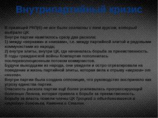 Внутрипартийный кризис В правящей РКП(б) не все были согласны с тем курсом, к