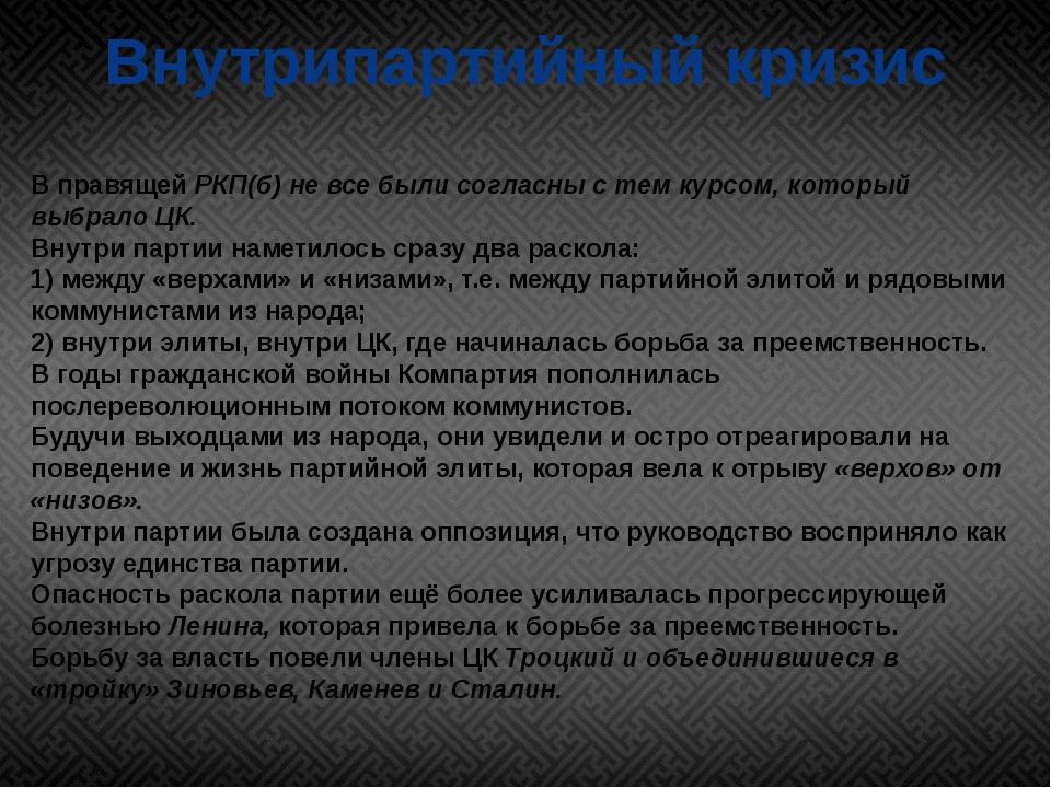 Внутрипартийный кризис В правящей РКП(б) не все были согласны с тем курсом, к...