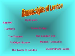 Big Ben Buckingham Palace Trafalgar Square Hamleys The London Eye Madam Tussa