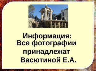 Информация: Все фотографии принадлежат Васютиной Е.А.