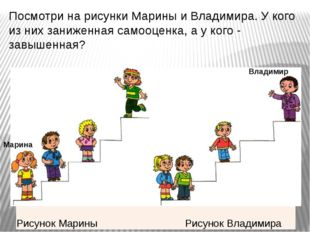 Посмотри на рисунки Марины и Владимира. У кого из них заниженная самооценка,