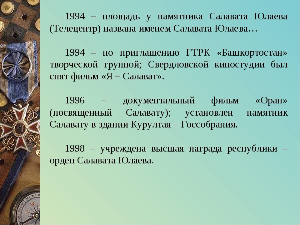 1994 – площадь у памятника Салавата Юлаева (Телецентр) названа именем Салават...