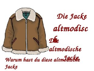 Die Jacke altmodisch Die altmodische Jacke Warum hast du diese altmodische Ja