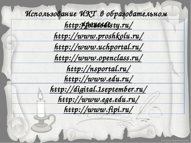 Использование ИКТ в образовательном процессе http://metodisty.ru/ http://www....