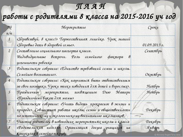 П Л А Н работы с родителями 8 класса на 2015-2016 уч год № п/п Мероприятие С...