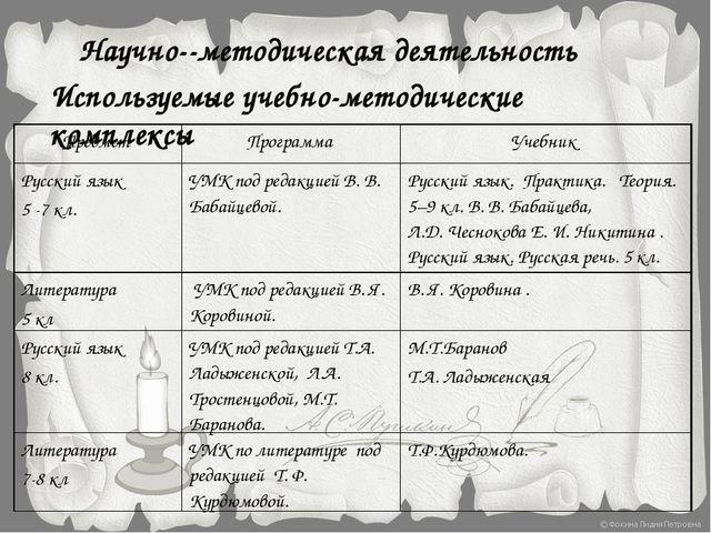 Научно-методическая деятельность Используемые учебно-методические комплексы...