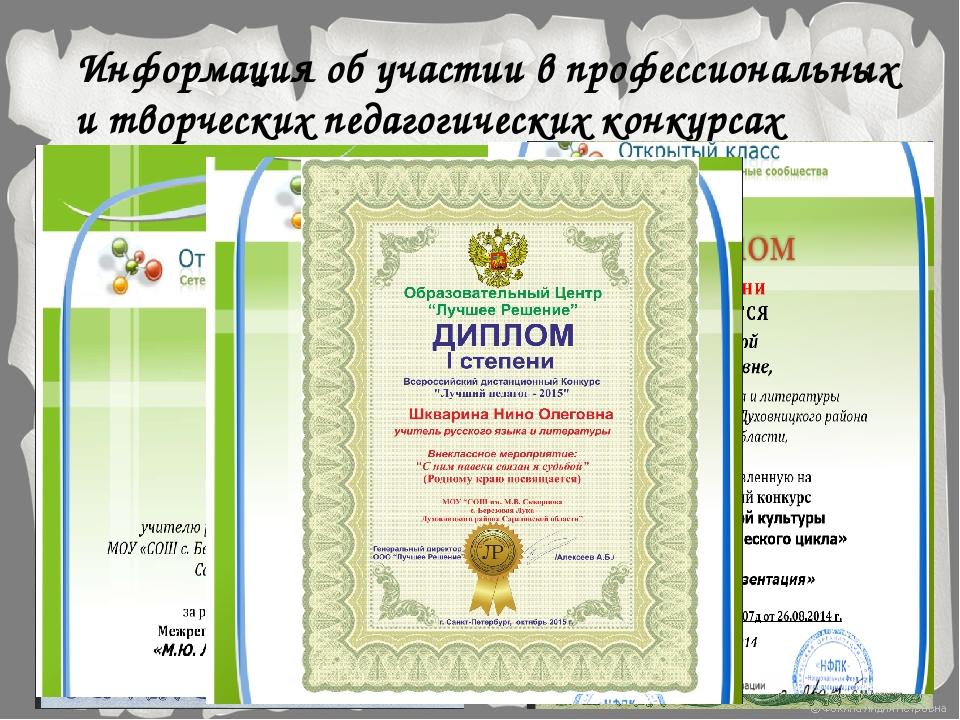 Информация об участии в профессиональных и творческих педагогических конкурсах