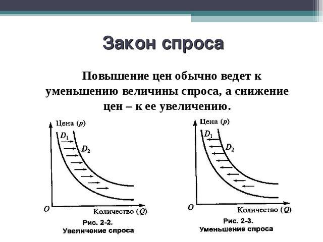 Закон спроса Повышение цен обычно ведет к уменьшению величины спроса, а сниже...