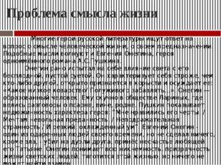 Проблема смысла жизни Многие герои русской литературы ищут ответ на вопрос о