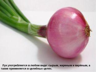 Лук употребляется в любом виде: сырым, жареным и варёным, а также применяет