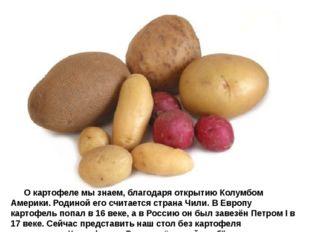 О картофеле мы знаем, благодаря открытию Колумбом Америки. Родиной его