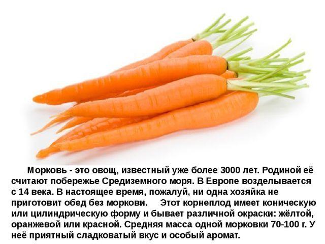 Морковь- это овощ, известный уже более 3000 лет. Родиной её считают п...