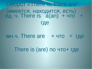 "Оборот «There is, there are"" (имеется, находится, есть) ед. ч. There is a(an)"