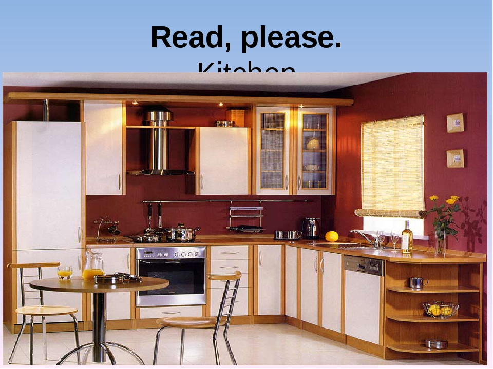 Read, please. Kitchen