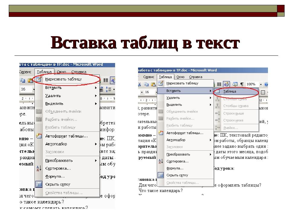 Вставка таблиц в текст