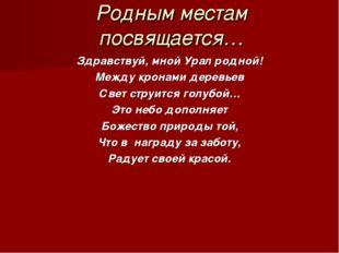 Родным местам посвящается… Здравствуй, мной Урал родной! Между кронами деревь