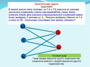 Практическая задача Задача№4 В нашей школе пять человек из 7 А и 7 Б классов
