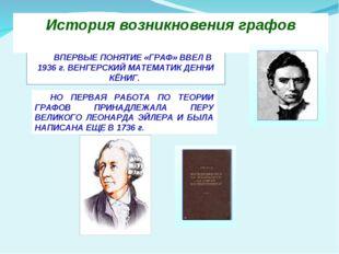 ВПЕРВЫЕ ПОНЯТИЕ «ГРАФ» ВВЕЛ В 1936 г. ВЕНГЕРСКИЙ МАТЕМАТИК ДЕННИ КЁНИГ. Исто