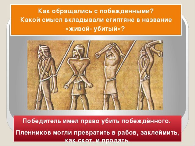 Победитель имел право убить побеждённого. Пленников могли превратить в рабов,...