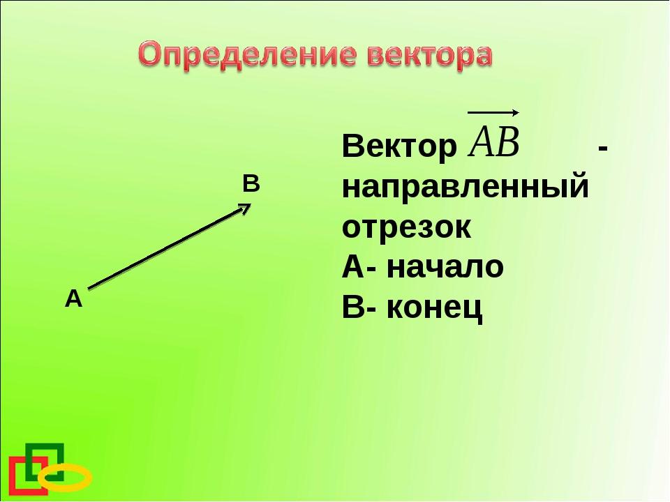 А В Вектор - направленный отрезок А- начало В- конец