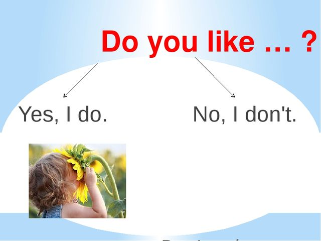 Do you like … ? Yes, I do. No, I don't. Don't = do not