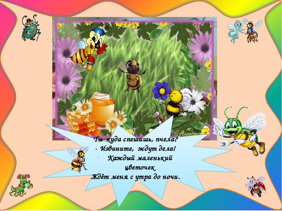Ты куда спешишь, пчела? - Извините, ждут дела! Каждый маленький цветочек Ждё...