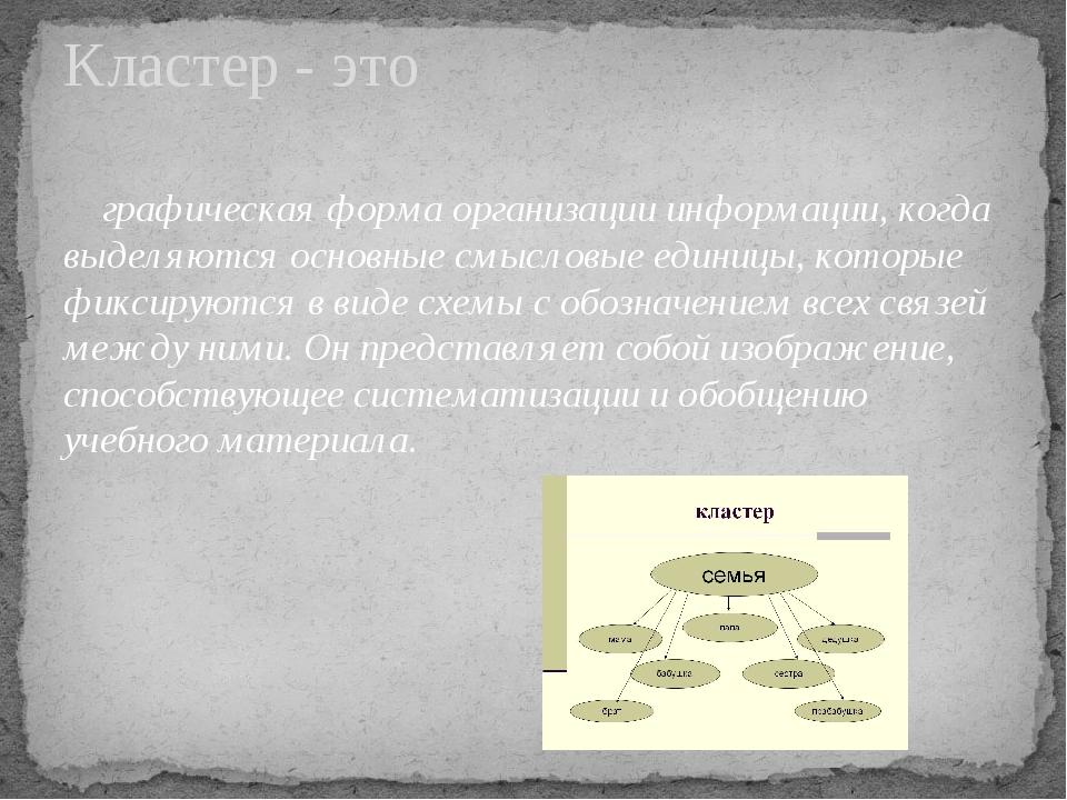 графическая форма организации информации, когда выделяются основные смысловы...