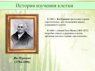 Ян Пуркине (1784-1896) В 1840 г. Ян Пуркине предложил термин «протоплазма» дл
