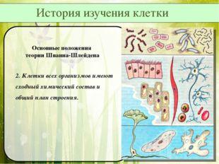 Основные положения теории Шванна-Шлейдена 2. Клетки всех организмов имеют схо