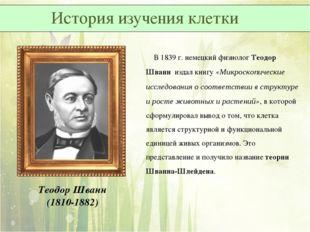 Теодор Шванн (1810-1882) В 1839 г. немецкий физиолог Теодор Шванн издал книгу