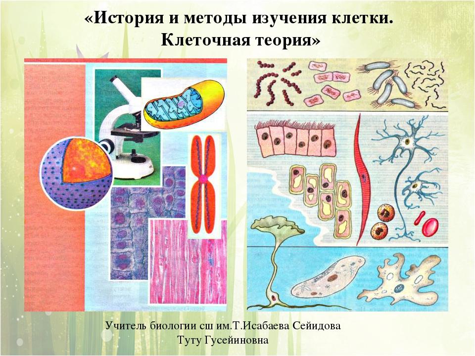 «История и методы изучения клетки. Клеточная теория» Учитель биологии сш им.Т...